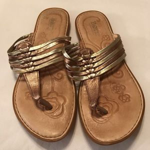 Born leather gold strapped sandals Sz 7